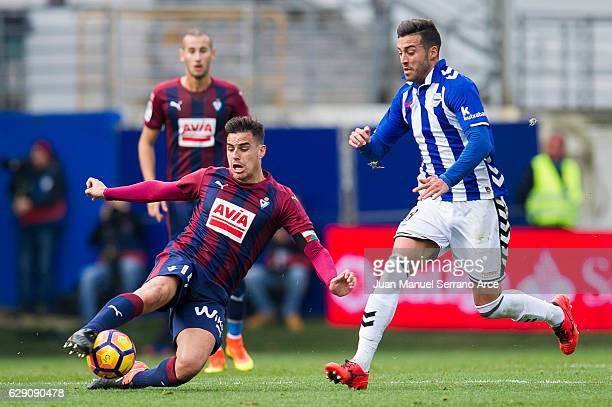 Daniel Garcia of SD Eibar duels for the ball with Victor Camarasaof Deportivo Alaves during the La Liga match between SD Eibar and Deportivo Alaves...