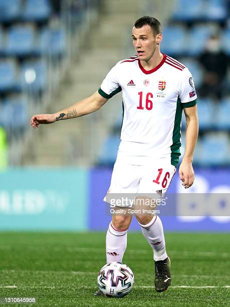 Daniel Gazdag of Hungary controls the ball during the FIFA World Cup 2022 Qatar qualifying Group I match between Andorra and Hungary on March 31, at...