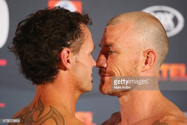 Daniel Geale and Garth Wood face off during the official weigh in ahead of tomorrow night's middleweight bout between Garth Wood and Daniel Geale at...