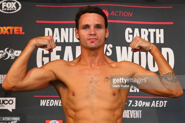 Daniel Geale poses after making weight on his second attempt during the official weigh in ahead of tomorrow night's middleweight bout between Garth...