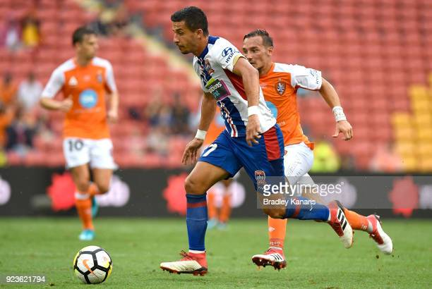 Daniel Georgievski of the Jets in action during the round 21 ALeague match between the Brisbane Roar and the Newcastle Jets at Suncorp Stadium on...