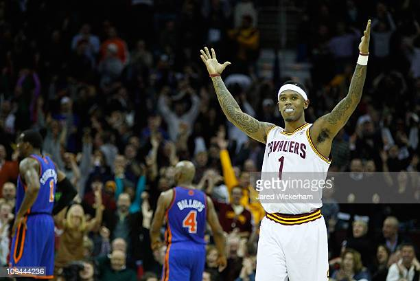 Daniel Gibson of the Cleveland Cavaliers celebrates after scoring a three point shot during the game against the New York Knicks on February 25 2011...