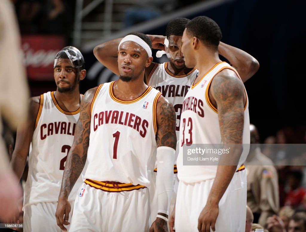Daniel Gibson #1 of the Cleveland Cavaliers discusses the game with teammates Tristan Thompson #13 , Alonzo Gee #33 and Kryrie Irving #2 during a break in the action against the Indiana Pacers at The Quicken Loans Arena on December 21, 2012 in Cleveland, Ohio.