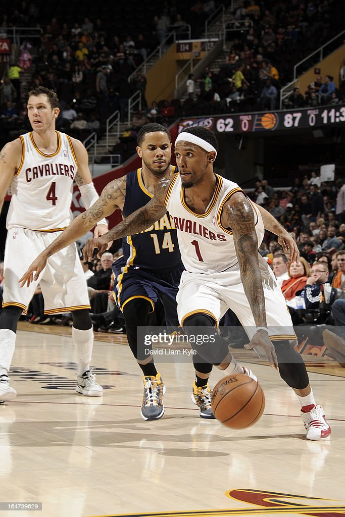 Daniel Gibson #1 of the Cleveland Cavaliers drives to the basket against the Indiana Pacers at The Quicken Loans Arena on March 18, 2013 in Cleveland, Ohio.