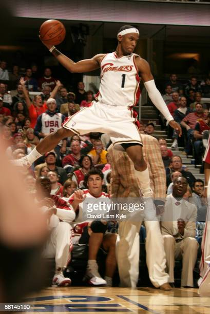 Daniel Gibson of the Cleveland Cavaliers goes way up to save the loose ball from going out of bounds in the game against the Detroit Pistons in Game...