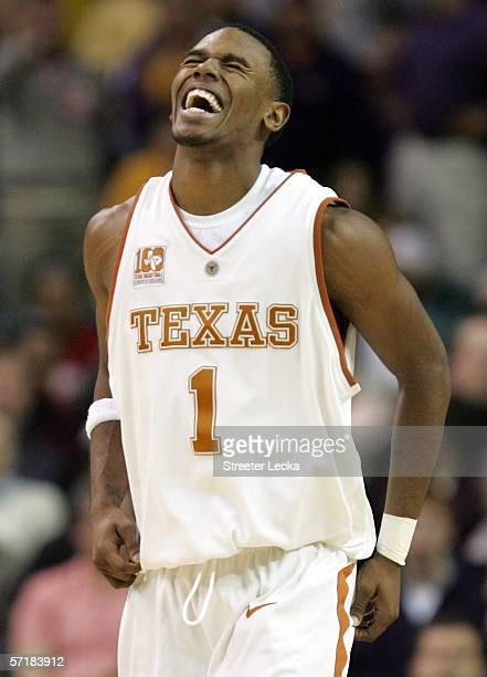 Daniel Gibson of the Texas Longhorns reacts to a play during the fourth round game of the 2006 NCAA Division I Men's Basketball Tournament Regional...