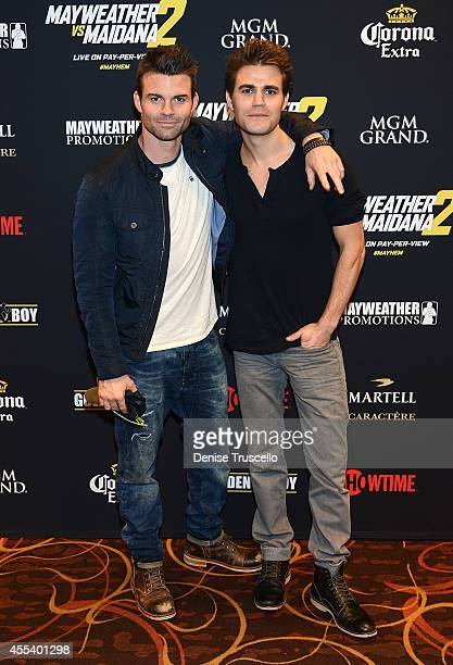 Daniel Gillies and Paul Wesley arrive at Showtime's VIP PreFight party for 'MAYHEM MAYWEATHER VS MAIDANA 2' at MGM Grand Garden Arena on September 13...