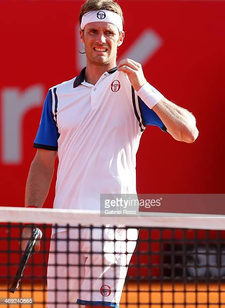 Daniel Gimeno Traver of Spain looks dejected during a tennis match between Nicolas Almagro and Daniel Gimeno Traver as part of ATP Buenos Aires Copa...