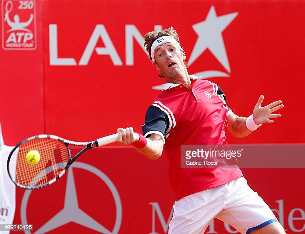 Daniel Gimeno Traver of Spain makes a shot during a tennis match between Nicolas Almagro and Daniel Gimeno Traver as part of ATP Buenos Aires Copa...