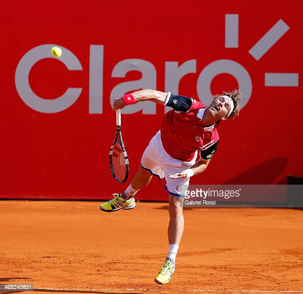 Daniel Gimeno Traver of Spain serves during a tennis match between Nicolas Almagro and Daniel Gimeno Traver as part of ATP Buenos Aires Copa Claro on...