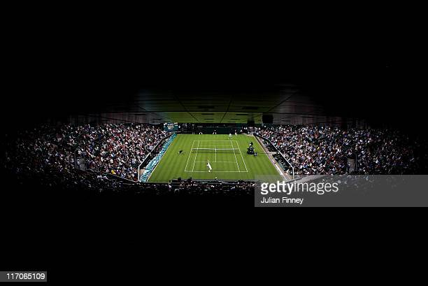 Daniel GimenoTraver of Spain and Andy Murray of Great Britain in action during their first round match against on Day One of the Wimbledon Lawn...