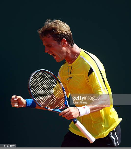 Daniel GimenoTraver of Spain celebrates winning the first set against Santiago Giraldo of Columbia during Day Two of the ATP Masters Series Tennis at...