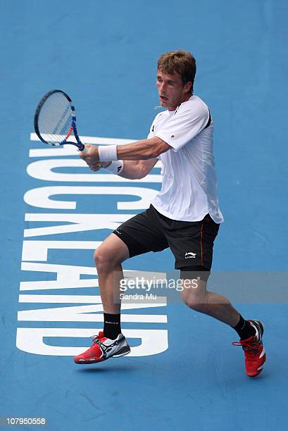 Daniel GimenoTraver of Spain plays a backhand during his match against Santiago Giraldo of Colombia on day one of the Heineken Open at ASB Tennis...