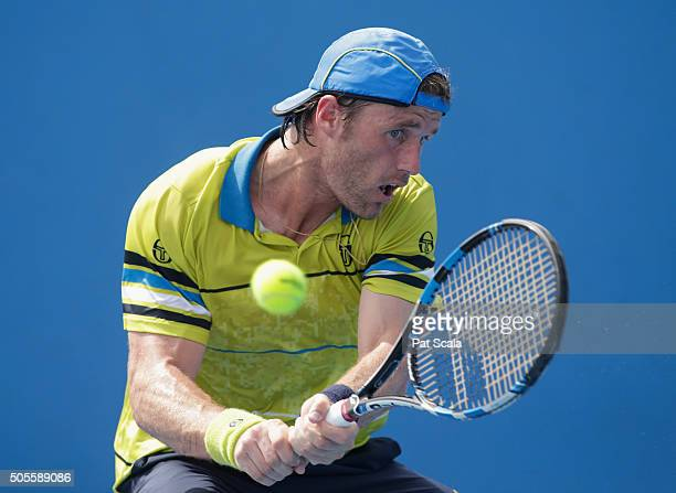Daniel GimenoTraver of Spain plays a backhand in his first round match against Tim Smyczek of the United States during day two of the 2016 Australian...