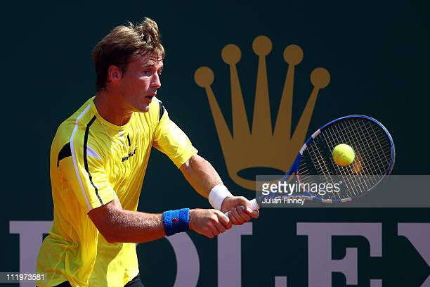 Daniel GimenoTraver of Spain plays a backhand in his match against Santiago Giraldo of Columbia during Day Two of the ATP Masters Series Tennis at...