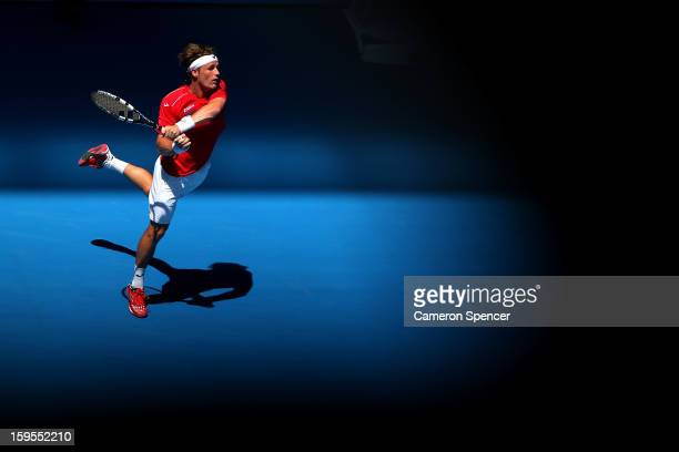 Daniel GimenoTraver of Spain plays a backhand in his second round match against Nicolas Almagro of Spain during day three of the 2013 Australian Open...