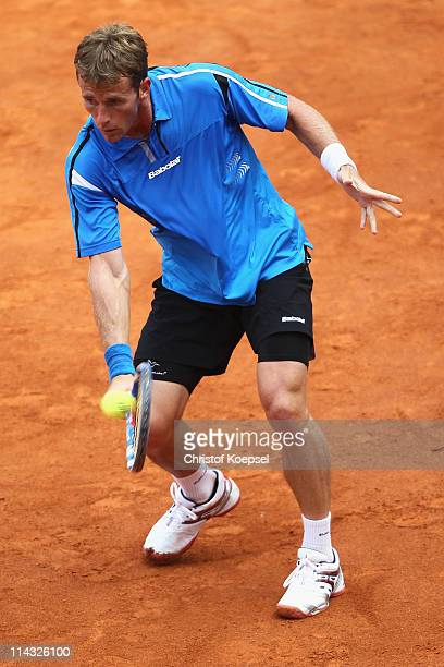 Daniel GimenoTraver of Spain plays a backhand in the blue group during the match between Philipp Kohlschreiber of Germany and Daniel GimenoTraver of...