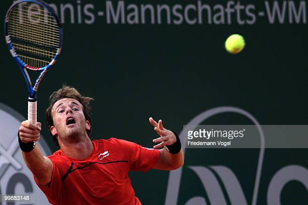 Daniel GimenoTraver of Spain plays a forehand during his match against Sam Querrey of USA during day three of the ARAG World Team Cup at the...