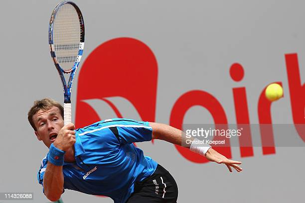 Daniel GimenoTraver of Spain plays a forehand in the blue group during the match between Philipp Kohlschreiber of Germany and Daniel GimenoTraver of...
