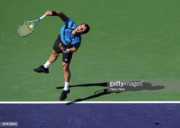 Daniel GimenoTraver of Spain serves in his match against James Blake of the United States during the BNP Paribas Open at the Indian Wells Tennis...