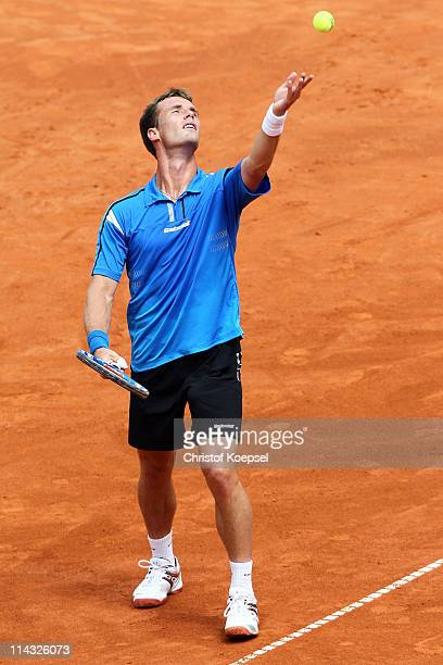 Daniel GimenoTraver of Spain serves in the blue group during the match between Philipp Kohlschreiber of Germany and Daniel GimenoTraver of Spain...