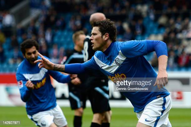 Daniel Ginczek of Bochum celebrates after scoring his team's opening goal during the Second Bundesliga match between VfL Bochum and 1860 Muenchen at...