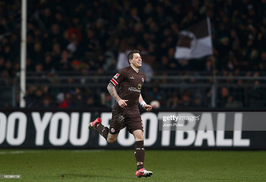 Daniel Ginczek of St. Pauli celebrates after scoring his team's second goal during the Second Bundesliga match between 1. FC St. Pauli and FSV Frankfurt 1899 at Millerntor Stadium on February 22, 2013 in Hamburg, Germany.