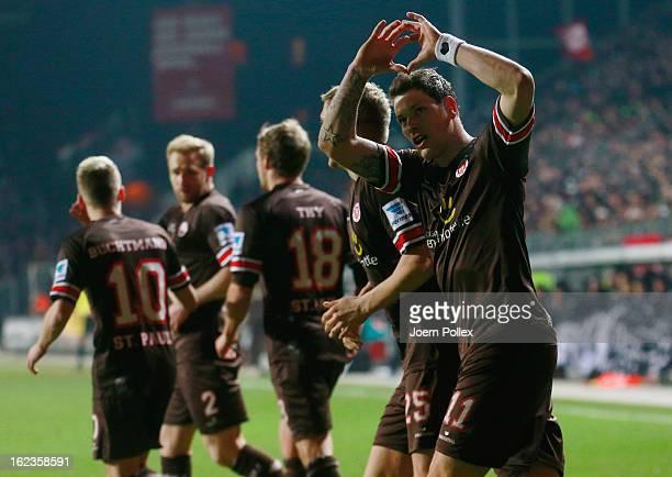 Daniel Ginczek of St. Pauli celebrates after scoring the opening goal of the Second Bundesliga match between 1. FC St. Pauli and FSV Frankfurt 1899...