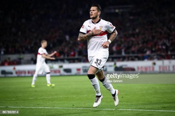 Daniel Ginczek of Stuttgart celebrates after scoring his team's first goal to make it 10 during the Bundesliga match between VfB Stuttgart and...