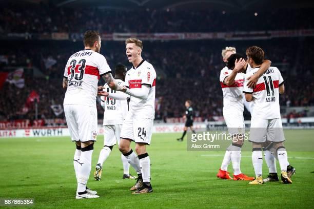 Daniel Ginczek of Stuttgart celebrates his teammates after scoring his team's first goal to make it 10 during the Bundesliga match between VfB...