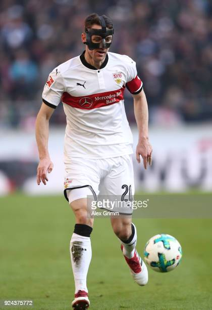 Daniel Ginczek of Stuttgart controls the ball during the Bundesliga match between VfB Stuttgart and Eintracht Frankfurt at MercedesBenz Arena on...