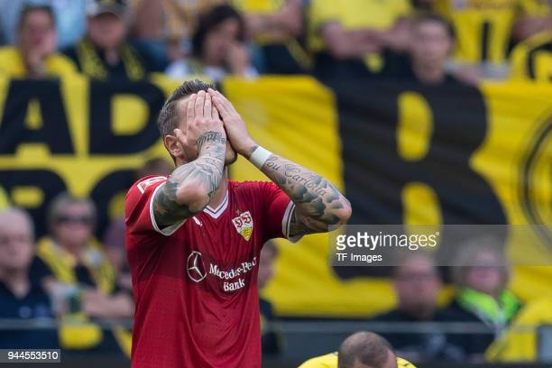 Daniel Ginczek of Stuttgart gestures during the Bundesliga match between Borussia Dortmund and VfB Stuttgart at Signal Iduna Park on April 8 2018 in...