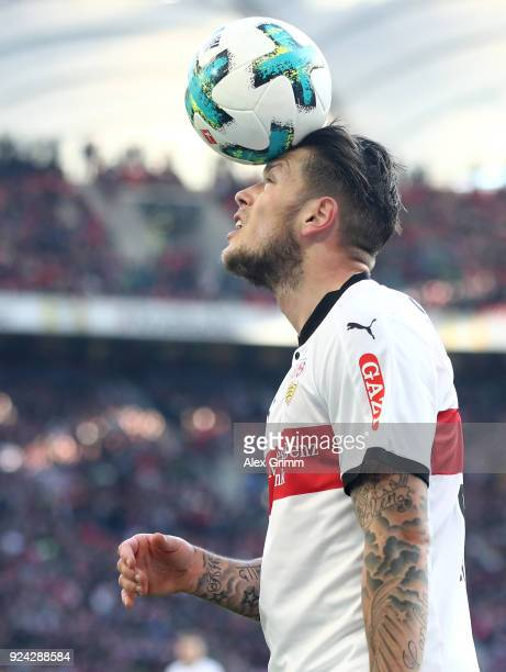 Daniel Ginczek of Stuttgart juggles with the ball during the Bundesliga match between VfB Stuttgart and Eintracht Frankfurt at MercedesBenz Arena on...