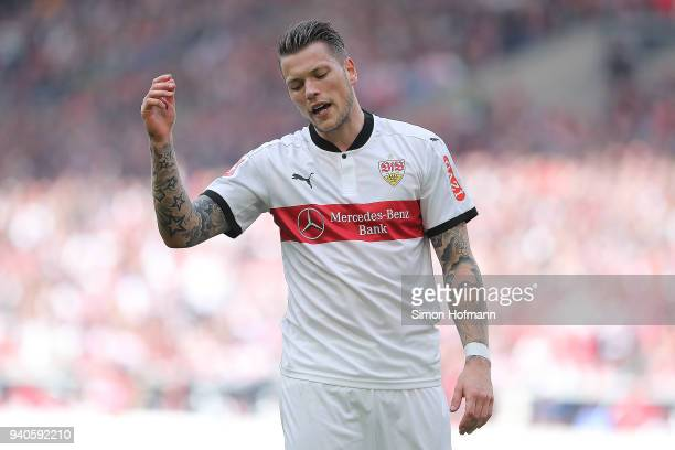 Daniel Ginczek of Stuttgart looks dejected during the Bundesliga match between VfB Stuttgart and Hamburger SV at MercedesBenz Arena on March 31 2018...