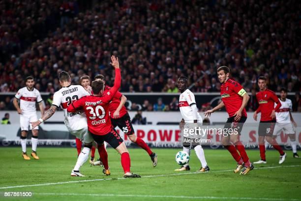 Daniel Ginczek of Stuttgart scores his team's first goal to make it 10 during the Bundesliga match between VfB Stuttgart and SportClub Freiburg at...