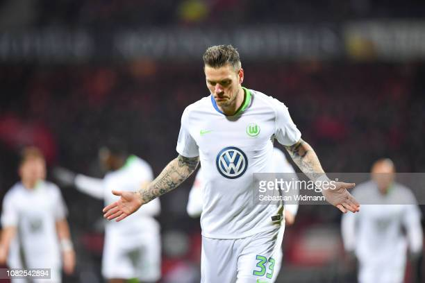 Daniel Ginczek of Wolfsburg celebrates his team's first goal during the Bundesliga match between 1 FC Nuernberg and VfL Wolfsburg at...