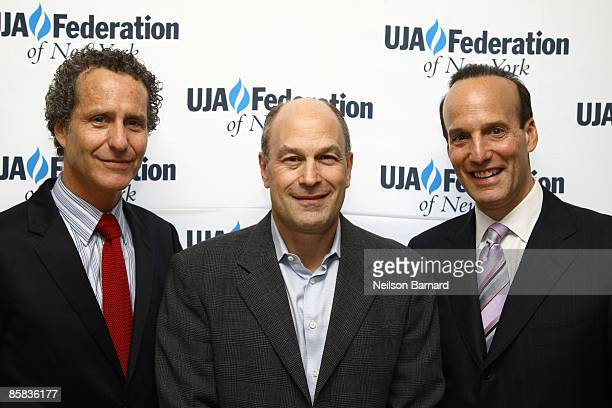 Daniel Glass Barry Weiss Chairman and CEO for RCA/Jive Label Group of Sony Music and Fred Davis pose for a photograph at the UJAFederation of New...