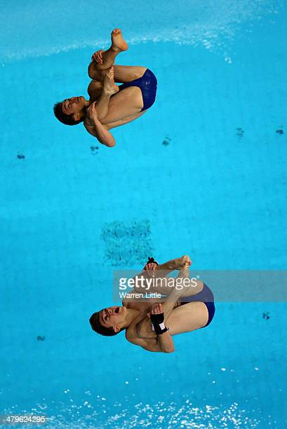 Daniel Goodfellow and Matthew Lee of Great Britain dive in the Men's 10m Synchro Platform Final during day one of the FINA/NVA Diving World Series...