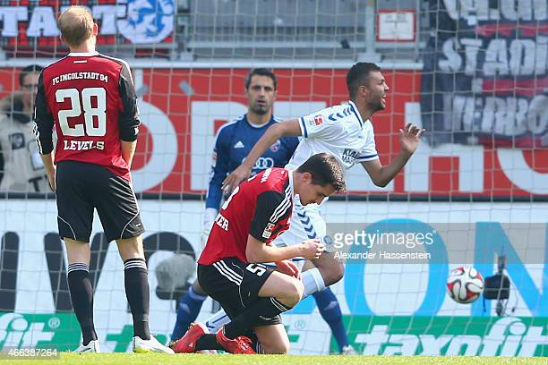 Daniel Gordon of Karlsruhe celebrates scoring the opening goal during the Second Bundesliga match between FC Ingolstadt and Karlsruher SC at Audi...