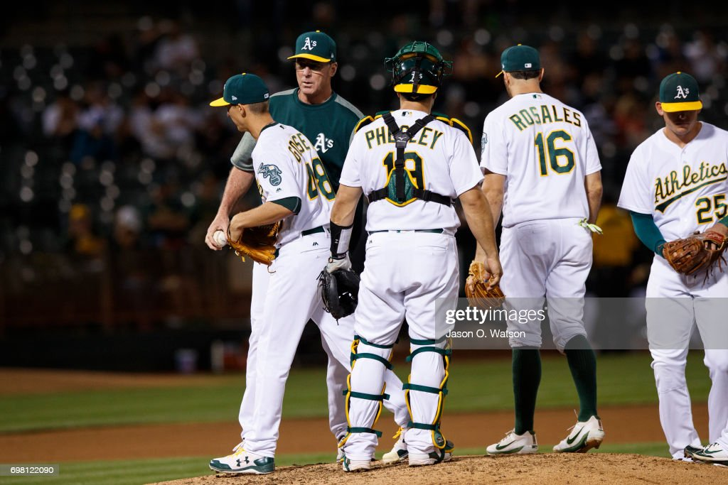 Daniel Gossett #48 of the Oakland Athletics is relieved by manager Bob Melvin #6 during the seventh inning against the Houston Astros at the Oakland Coliseum on June 19, 2017 in Oakland, California. The Houston Astros defeated the Oakland Athletics 4-1.