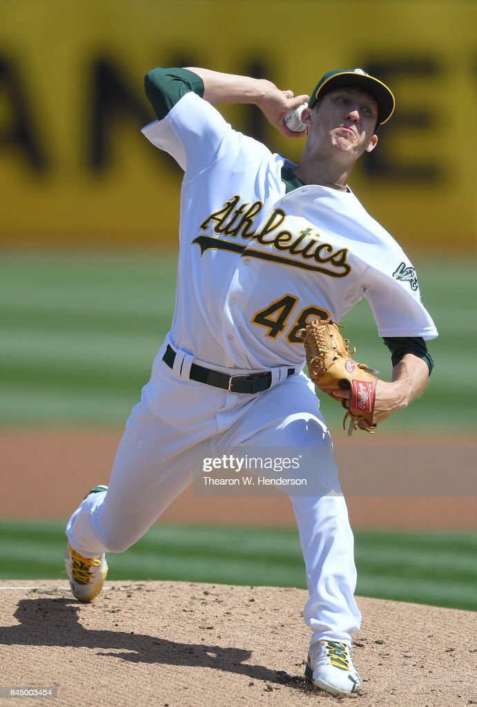Daniel Gossett #48 of the Oakland Athletics pitches against the Houston Astros in the top of the first inning during game one of a doubleheader at Oakland Alameda Coliseum on September 9, 2017 in Oakland, California.
