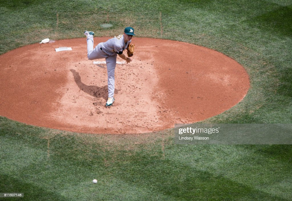 Daniel Gossett #48 of the Oakland Athletics pitches against the Seattle Mariners in the first inning at Safeco Field on July 9, 2017 in Seattle, Washington.