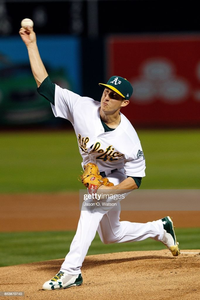 Daniel Gossett #48 of the Oakland Athletics pitches against the Seattle Mariners during the first inning at the Oakland Coliseum on September 25, 2017 in Oakland, California.