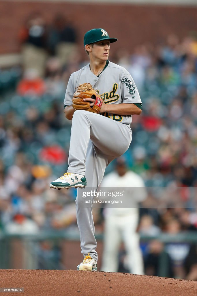 Daniel Gossett #48 of the Oakland Athletics pitches in the first inning against the San Francisco Giants during an interleague game at AT&T Park on August 2, 2017 in San Francisco, California.