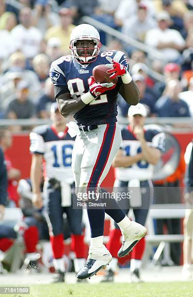 Daniel Graham of the New England Patriots catches a pass against the Buffalo on September 10, 2006 at Gillette Stadium in Foxboro, Massachusetts. The...