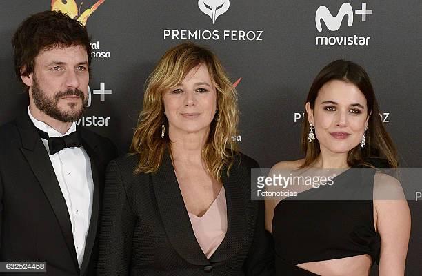 Daniel Grao Emma Suarez and Adriana Ugarte attend the 2016 Feroz Awards ceremony at the Palacete de los Duques de Pastrana on January 23 2017 in...