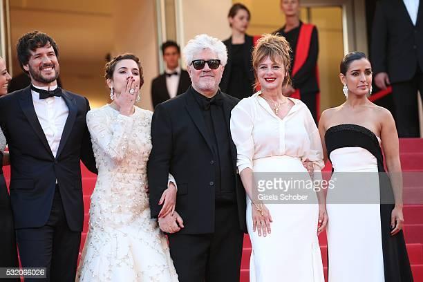 Daniel Grao Emma Suarez Pedro Almodovar Adriana Ugarte and Inma Cuesta attend the Julieta premiere during the 69th annual Cannes Film Festival at the...
