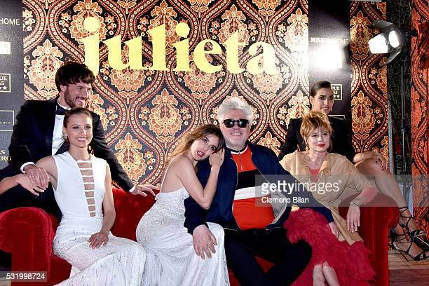 Daniel Grao Michelle Jenner Adriana Ugarte Pedro Almodovar Emma Suarez and Inma Cuesta attend the 'Julieta' After Party during the 69th annual Cannes...