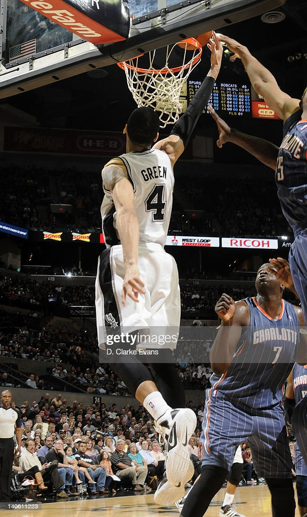 Daniel Green #4 of the San Antonio Spurs goes to the basket during the game against the Charlotte Bobcats at the AT&T Center on March 2, 2012 in San Antonio, Texas.