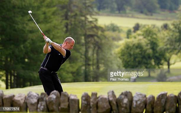 Daniel Greenwood of Forest Pines Golf Club tees off on the 18th hole during the final round of the Glenmuir PGA Professional Championship on the...
